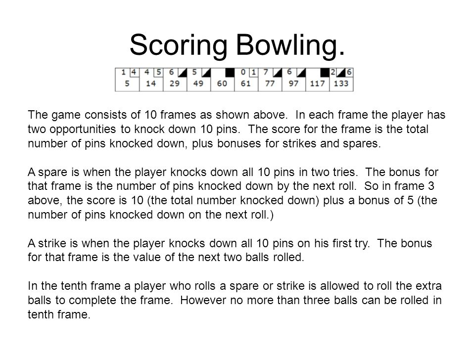 Scoring Bowling. The game consists of 10 frames as shown above.