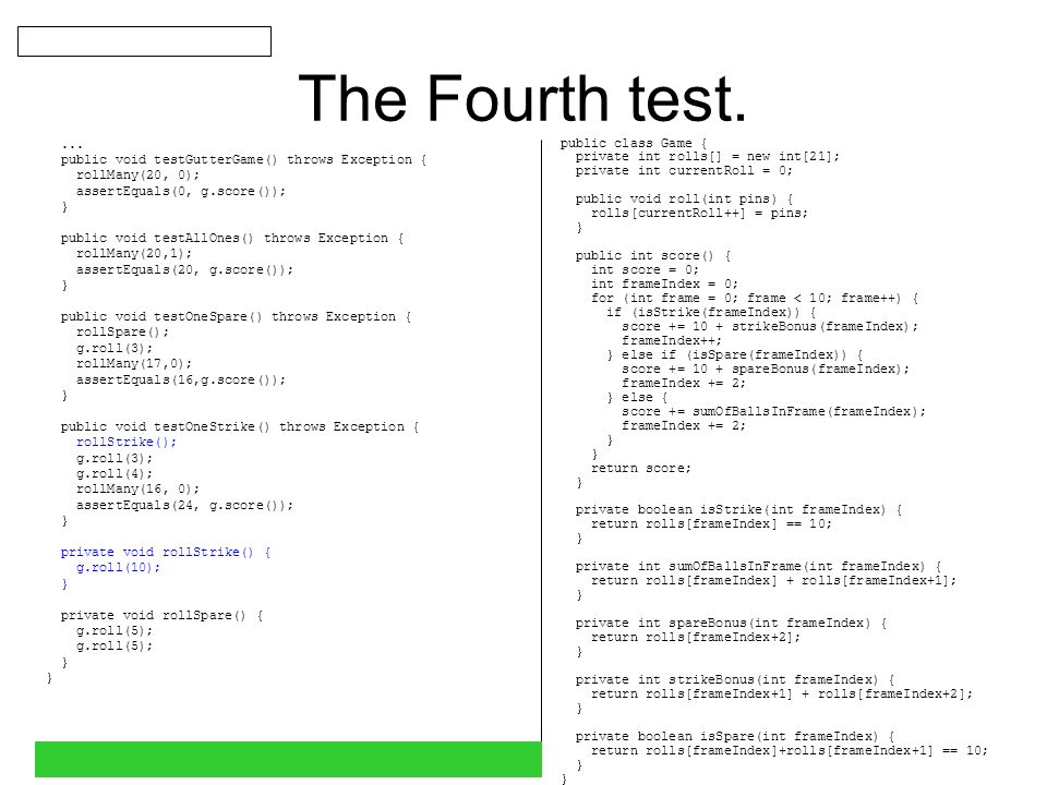 The Fourth test....
