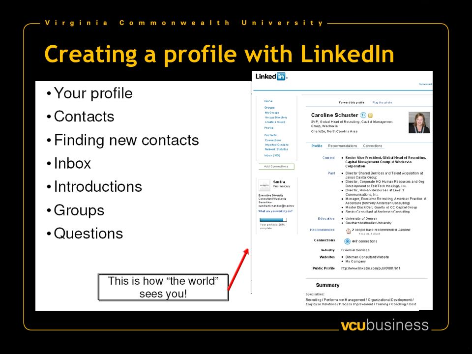 Creating a profile with LinkedIn