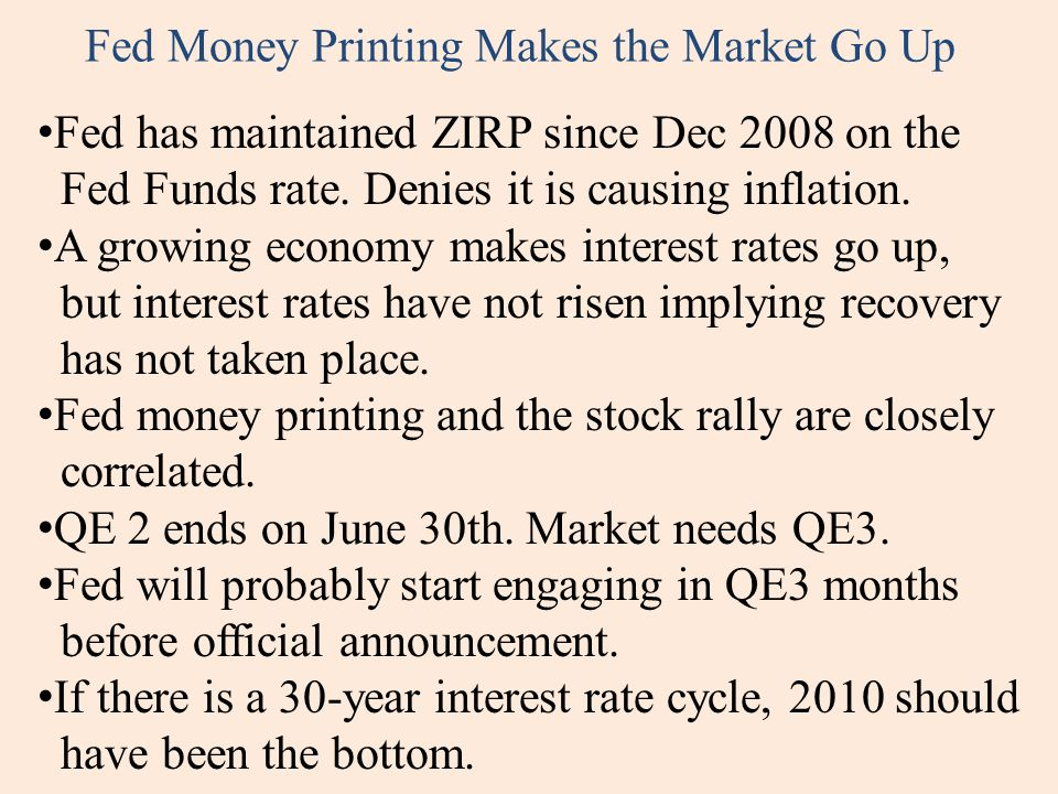 Fed Money Printing Makes the Market Go Up Fed has maintained ZIRP since Dec 2008 on the Fed Funds rate.