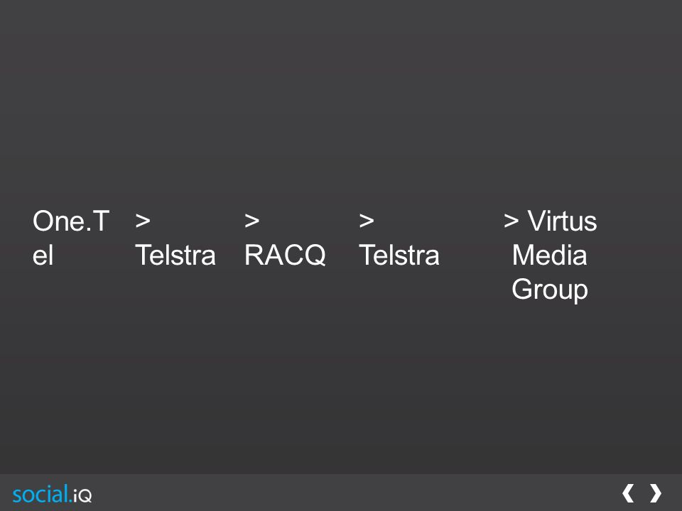 One.T el > Telstra > RACQ > Telstra > Virtus Media Group
