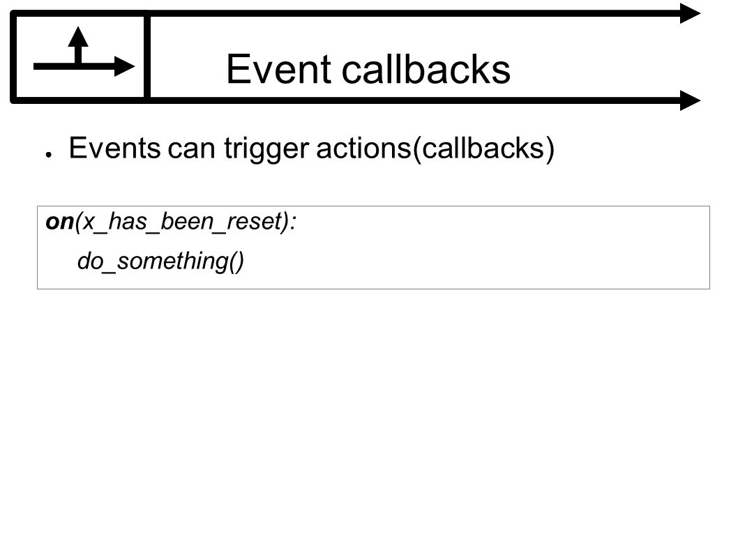 Event callbacks Events can trigger actions(callbacks) on(x_has_been_reset): do_something()