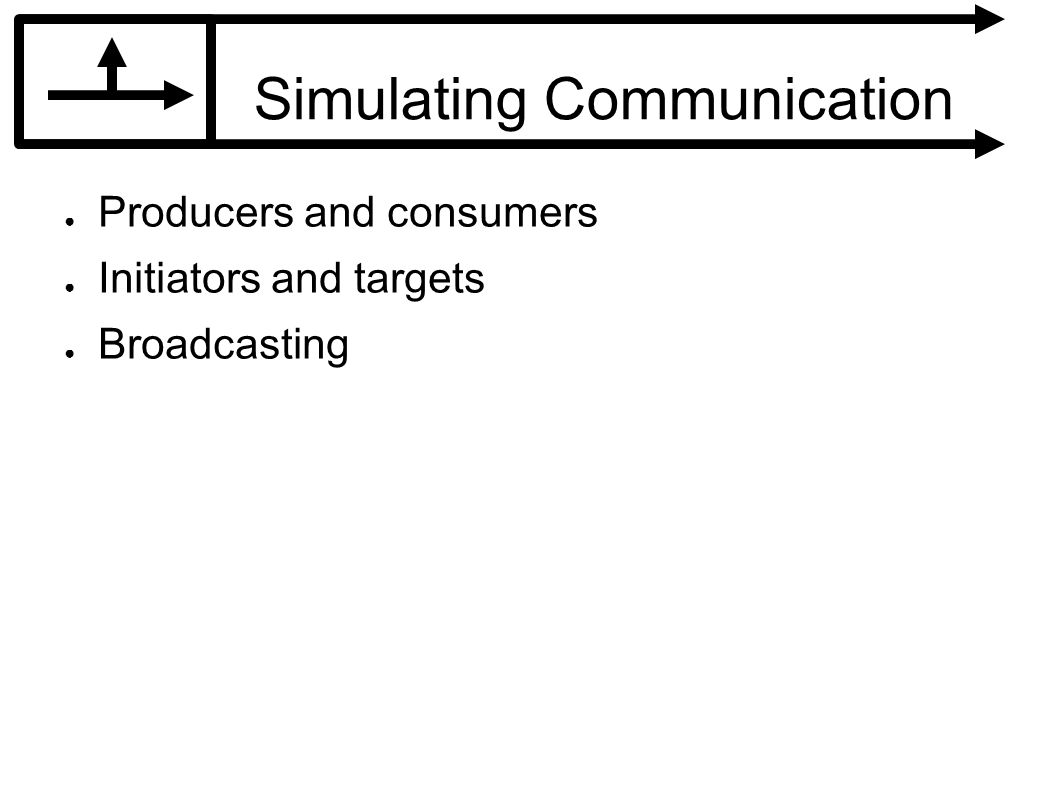 Simulating Communication Producers and consumers Initiators and targets Broadcasting