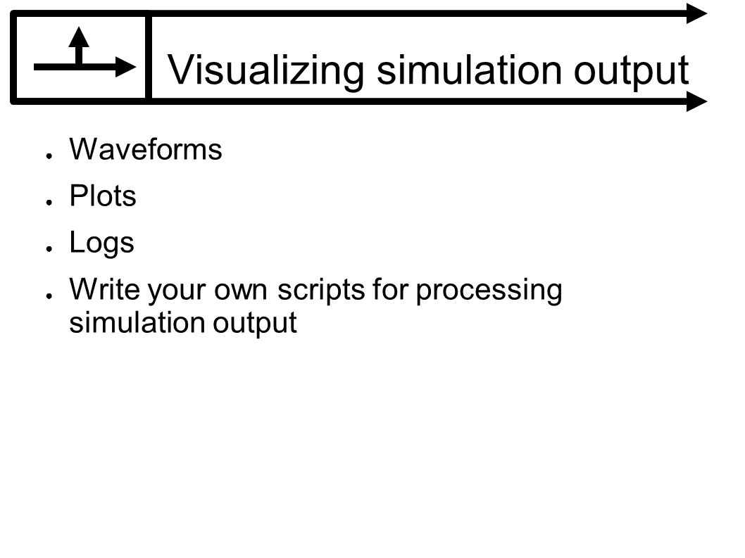 Visualizing simulation output Waveforms Plots Logs Write your own scripts for processing simulation output