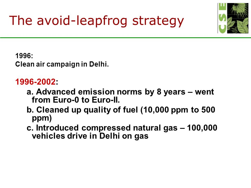 The avoid-leapfrog strategy 1996: Clean air campaign in Delhi.