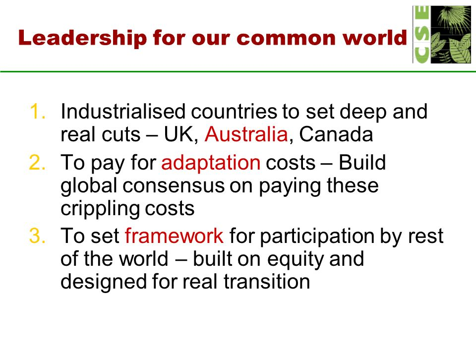 Leadership for our common world 1.Industrialised countries to set deep and real cuts – UK, Australia, Canada 2.To pay for adaptation costs – Build global consensus on paying these crippling costs 3.To set framework for participation by rest of the world – built on equity and designed for real transition
