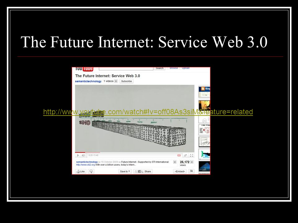 The Future Internet: Service Web 3.0 http://www.youtube.com/watch#!v=off08As3siM&feature=related