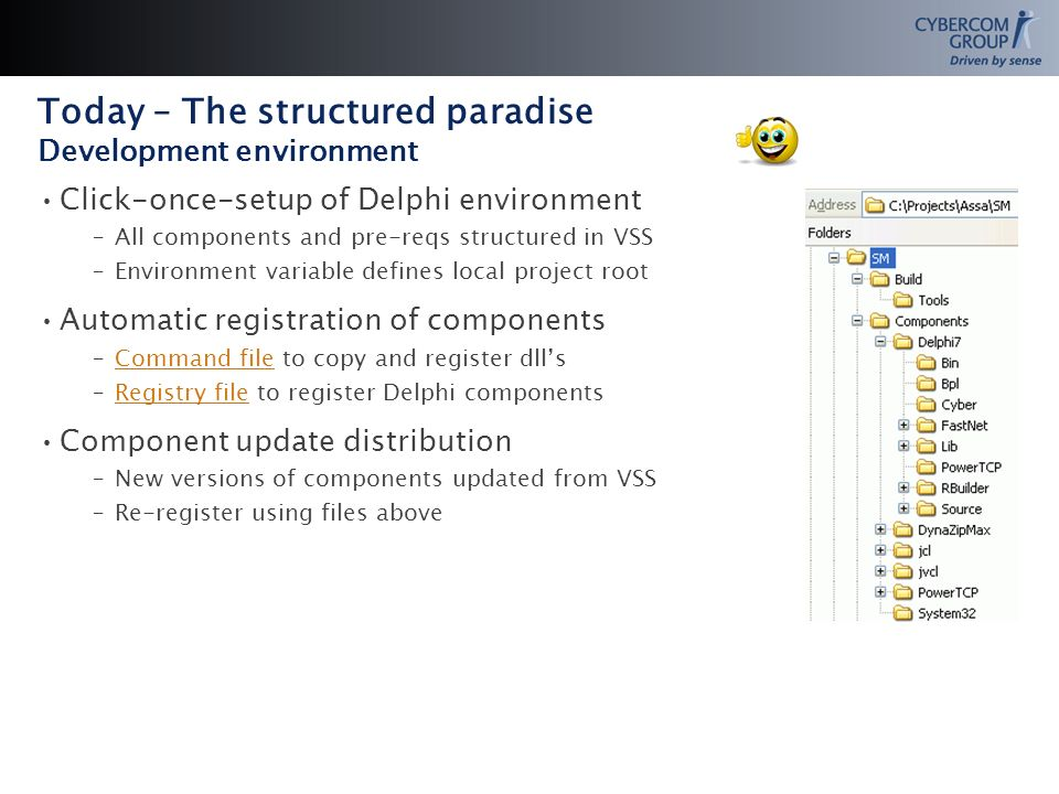 Today – The structured paradise Development environment Click-once-setup of Delphi environment –All components and pre-reqs structured in VSS –Environment variable defines local project root Automatic registration of components –Command file to copy and register dllsCommand file –Registry file to register Delphi componentsRegistry file Component update distribution –New versions of components updated from VSS –Re-register using files above