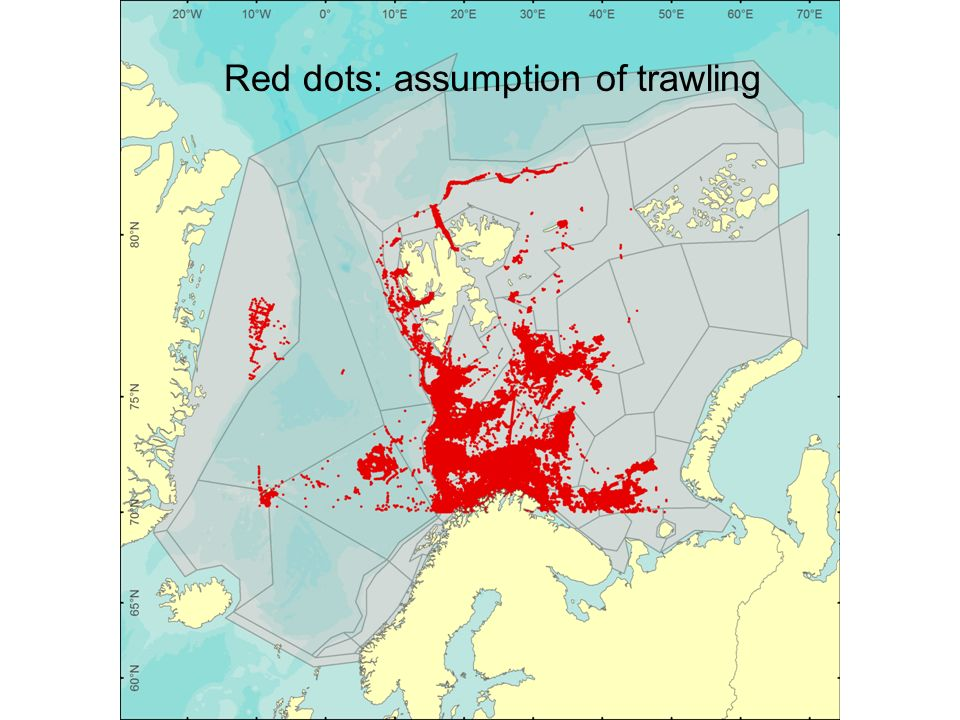 Red dots: assumption of trawling