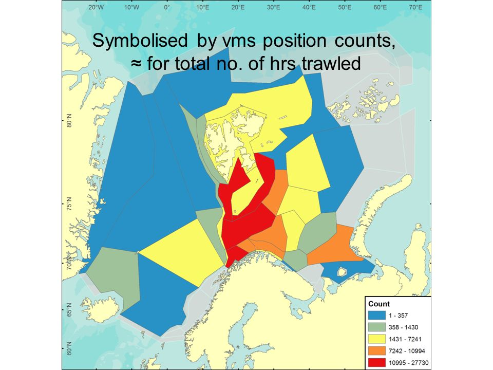 Symbolised by vms position counts, for total no. of hrs trawled