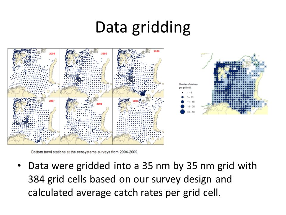 Data gridding Data were gridded into a 35 nm by 35 nm grid with 384 grid cells based on our survey design and calculated average catch rates per grid cell.