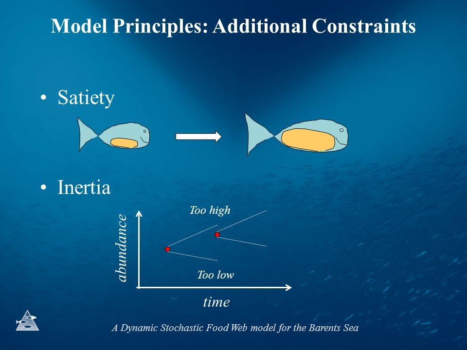A Dynamic Stochastic Food Web model for the Barents Sea Satiety Inertia Model Principles: Additional Constraints time abundance Too high Too low