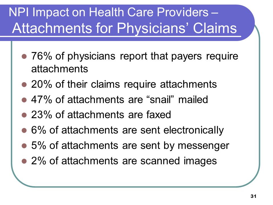 31 NPI Impact on Health Care Providers – Attachments for Physicians Claims 76% of physicians report that payers require attachments 20% of their claims require attachments 47% of attachments are snail mailed 23% of attachments are faxed 6% of attachments are sent electronically 5% of attachments are sent by messenger 2% of attachments are scanned images