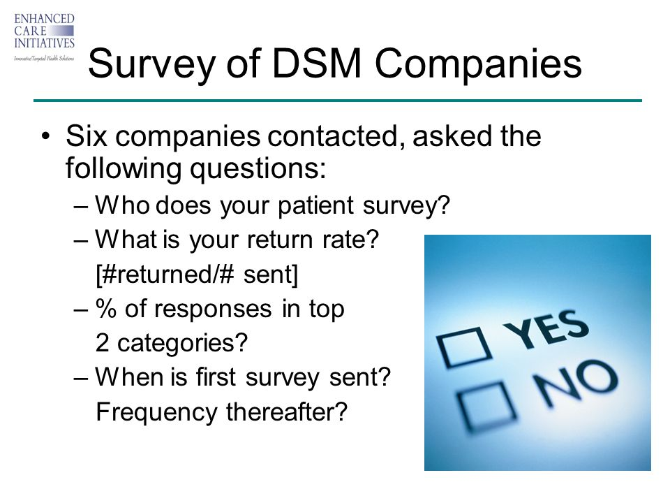 Survey of DSM Companies Six companies contacted, asked the following questions: –Who does your patient survey.