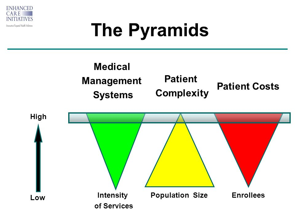 The Pyramids Low High Population Size Patient Costs Enrollees Patient Complexity Medical Management Systems Intensity of Services