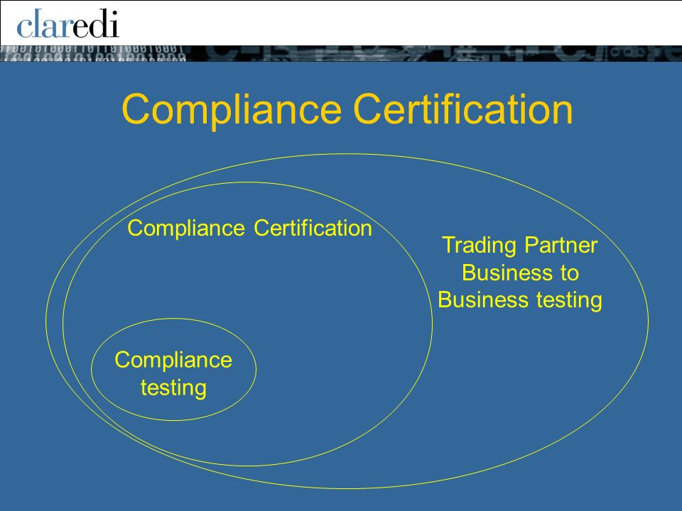 Compliance Certification Compliance testing Trading Partner Business to Business testing Compliance Certification