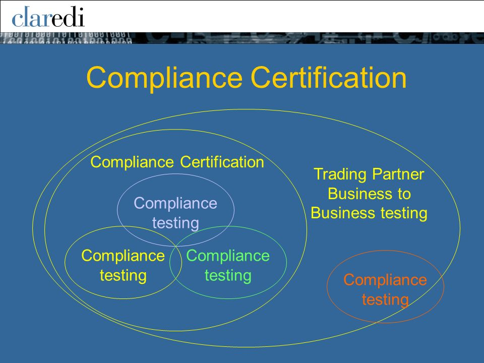 Compliance testing Trading Partner Business to Business testing Compliance testing Compliance Certification