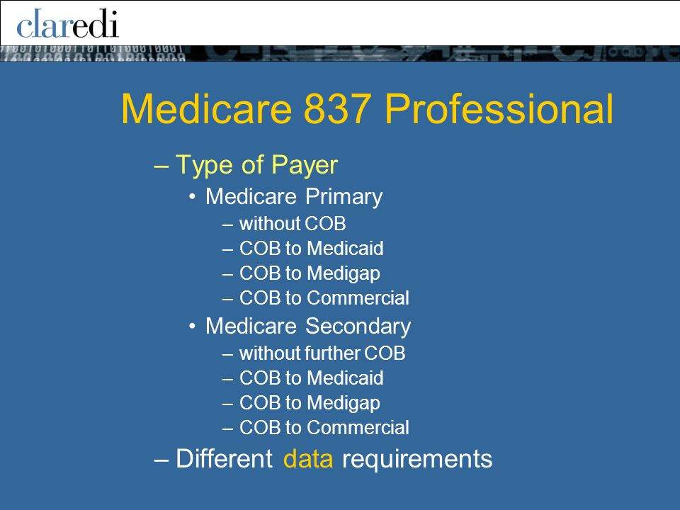 –Type of Payer Medicare Primary –without COB –COB to Medicaid –COB to Medigap –COB to Commercial Medicare Secondary –without further COB –COB to Medicaid –COB to Medigap –COB to Commercial –Different data requirements Medicare 837 Professional