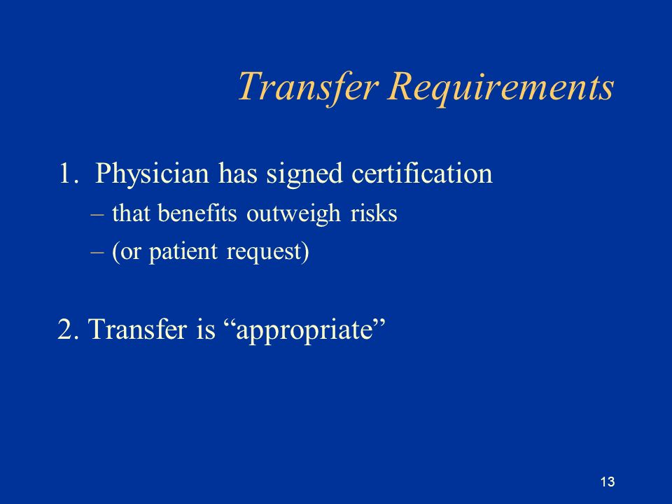 13 Transfer Requirements 1.