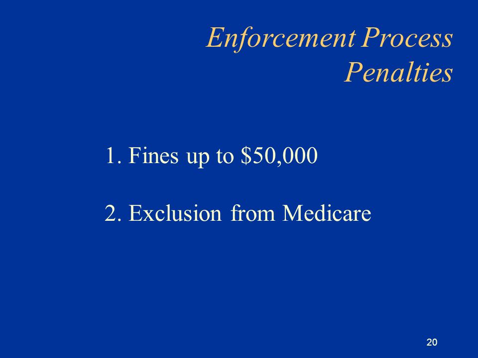 20 1. Fines up to $50,000 2. Exclusion from Medicare Enforcement Process Penalties