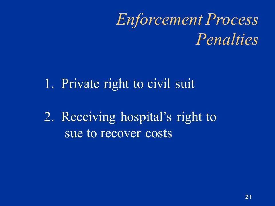 21 1. Private right to civil suit 2.