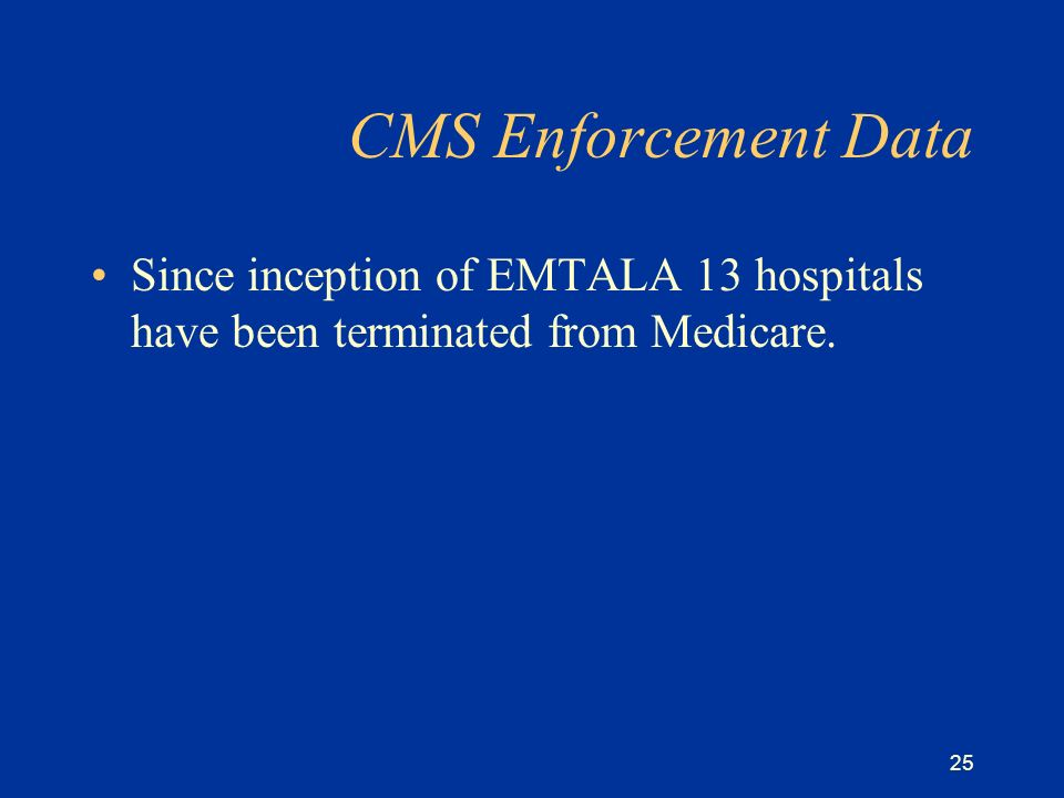 25 CMS Enforcement Data Since inception of EMTALA 13 hospitals have been terminated from Medicare.