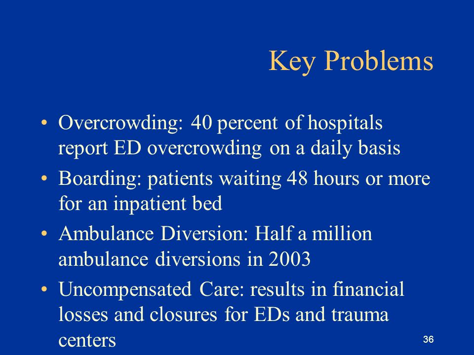 36 Key Problems Overcrowding: 40 percent of hospitals report ED overcrowding on a daily basis Boarding: patients waiting 48 hours or more for an inpatient bed Ambulance Diversion: Half a million ambulance diversions in 2003 Uncompensated Care: results in financial losses and closures for EDs and trauma centers