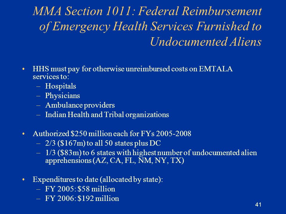 41 MMA Section 1011: Federal Reimbursement of Emergency Health Services Furnished to Undocumented Aliens HHS must pay for otherwise unreimbursed costs on EMTALA services to: –Hospitals –Physicians –Ambulance providers –Indian Health and Tribal organizations Authorized $250 million each for FYs 2005-2008 –2/3 ($167m) to all 50 states plus DC –1/3 ($83m) to 6 states with highest number of undocumented alien apprehensions (AZ, CA, FL, NM, NY, TX) Expenditures to date (allocated by state): –FY 2005: $58 million –FY 2006: $192 million