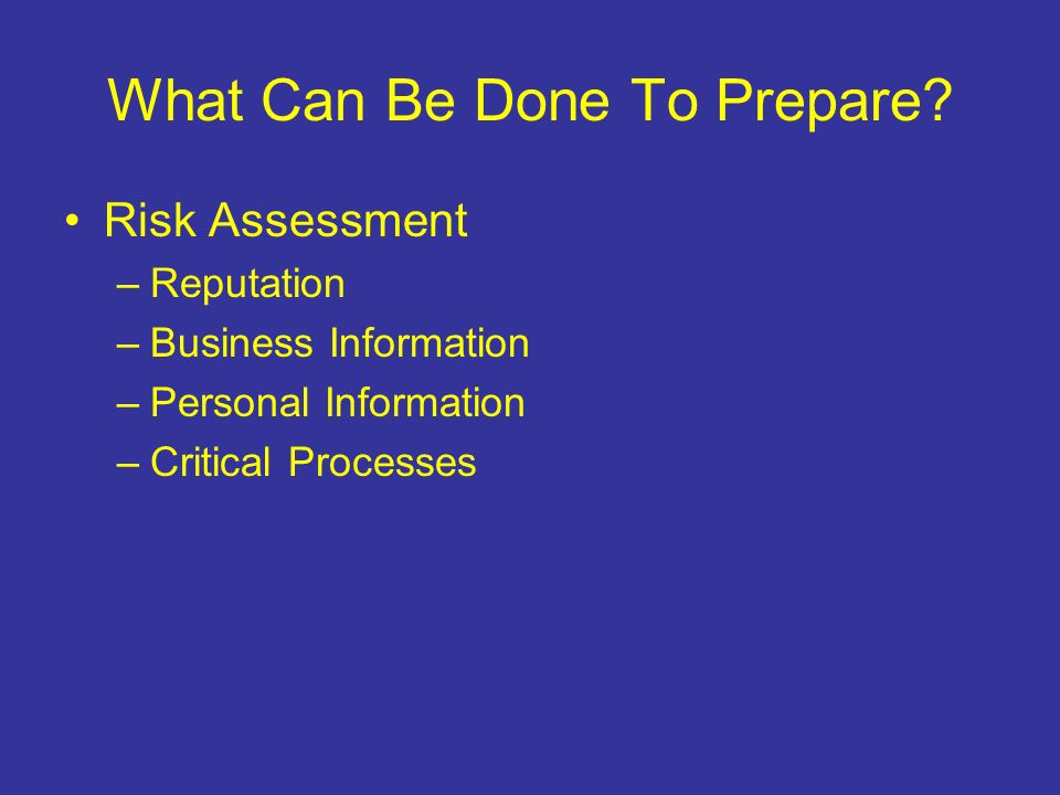 What Can Be Done To Prepare.