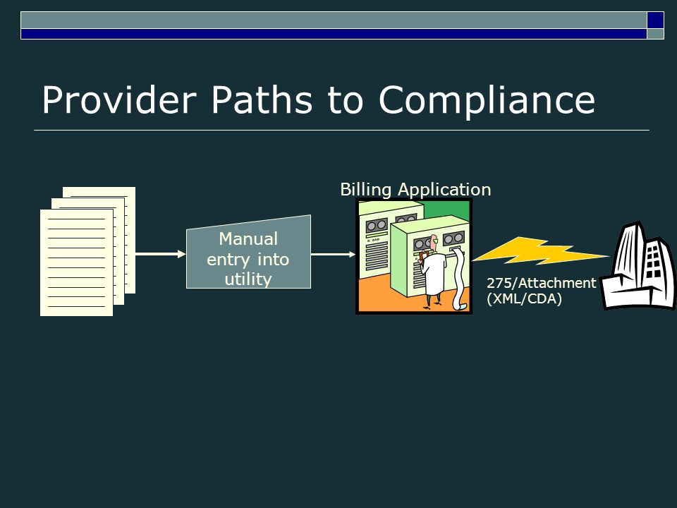 Provider Paths to Compliance Billing Application 275/Attachment (XML/CDA) Manual entry into utility