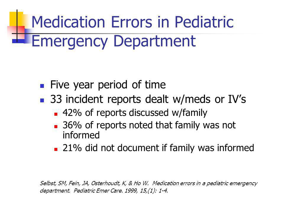 Medication Errors in Pediatric Emergency Department Five year period of time 33 incident reports dealt w/meds or IVs 42% of reports discussed w/family 36% of reports noted that family was not informed 21% did not document if family was informed Selbst, SM, Fein, JA, Osterhoudt, K, & Ho W.