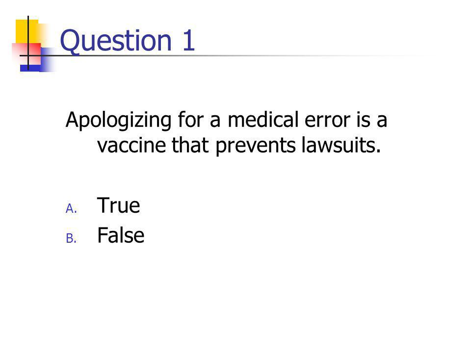 Question 1 Apologizing for a medical error is a vaccine that prevents lawsuits. A. True B. False