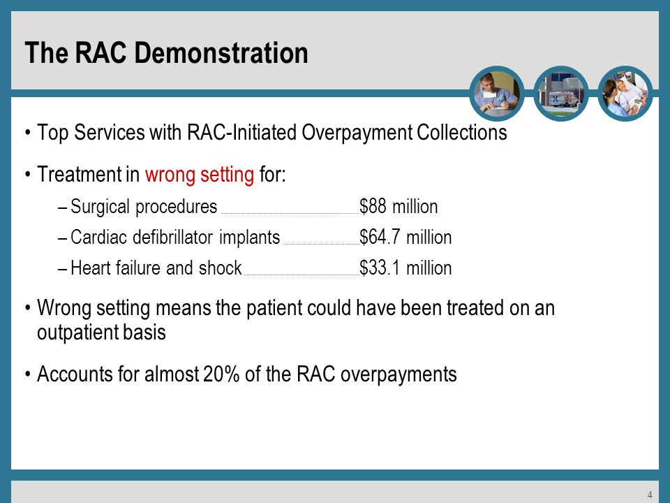 4 The RAC Demonstration Top Services with RAC-Initiated Overpayment Collections Treatment in wrong setting for: –Surgical procedures $88 million –Cardiac defibrillator implants$64.7 million –Heart failure and shock$33.1 million Wrong setting means the patient could have been treated on an outpatient basis Accounts for almost 20% of the RAC overpayments