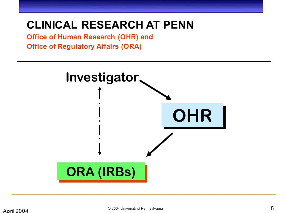 April 2004 © 2004 University of Pennsylvania 5 CLINICAL RESEARCH AT PENN Office of Human Research (OHR) and Office of Regulatory Affairs (ORA) Investigator OHR ORA (IRBs)