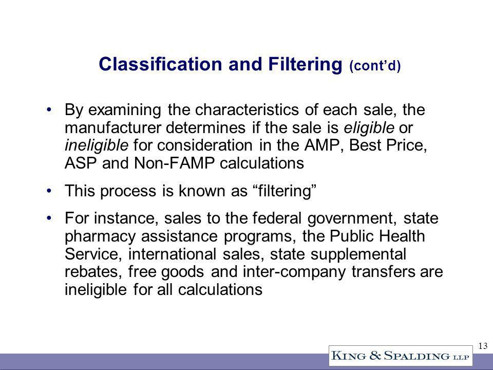 13 Classification and Filtering (contd) By examining the characteristics of each sale, the manufacturer determines if the sale is eligible or ineligible for consideration in the AMP, Best Price, ASP and Non-FAMP calculations This process is known as filtering For instance, sales to the federal government, state pharmacy assistance programs, the Public Health Service, international sales, state supplemental rebates, free goods and inter-company transfers are ineligible for all calculations