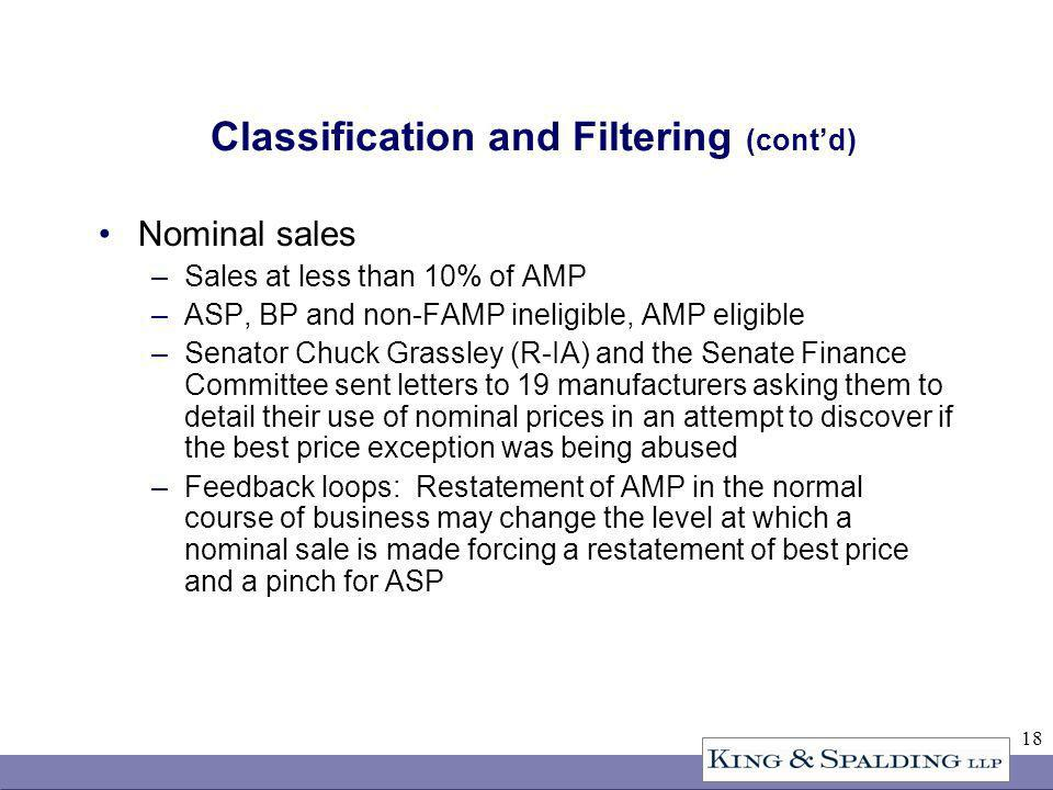 18 Classification and Filtering (contd) Nominal sales –Sales at less than 10% of AMP –ASP, BP and non-FAMP ineligible, AMP eligible –Senator Chuck Grassley (R-IA) and the Senate Finance Committee sent letters to 19 manufacturers asking them to detail their use of nominal prices in an attempt to discover if the best price exception was being abused –Feedback loops: Restatement of AMP in the normal course of business may change the level at which a nominal sale is made forcing a restatement of best price and a pinch for ASP
