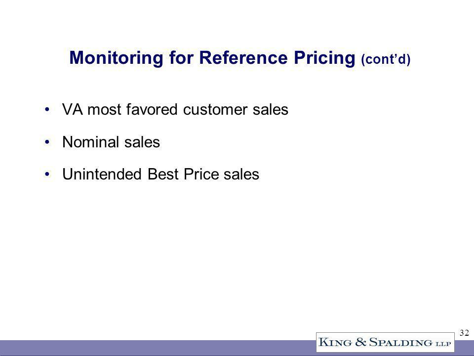 32 Monitoring for Reference Pricing (contd) VA most favored customer sales Nominal sales Unintended Best Price sales