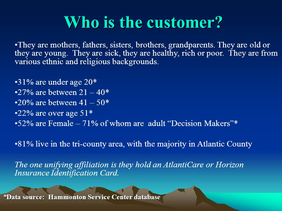 Who is the customer. They are mothers, fathers, sisters, brothers, grandparents.
