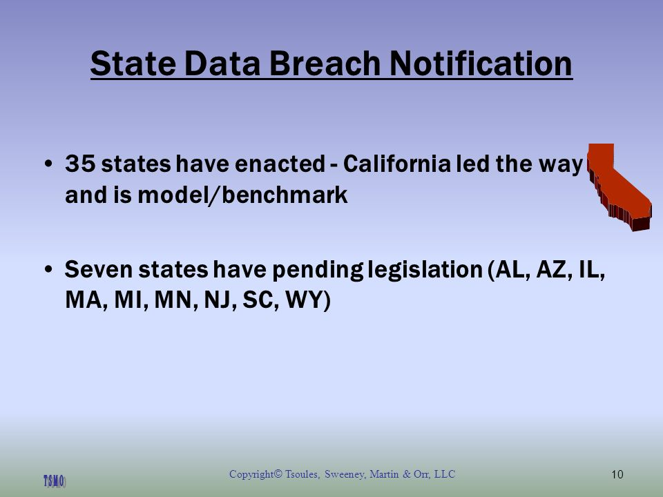 Copyright © Tsoules, Sweeney, Martin & Orr, LLC10 State Data Breach Notification 35 states have enacted - California led the way and is model/benchmark Seven states have pending legislation (AL, AZ, IL, MA, MI, MN, NJ, SC, WY)