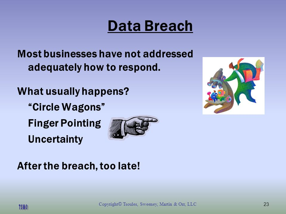 Copyright © Tsoules, Sweeney, Martin & Orr, LLC23 Data Breach Most businesses have not addressed adequately how to respond.