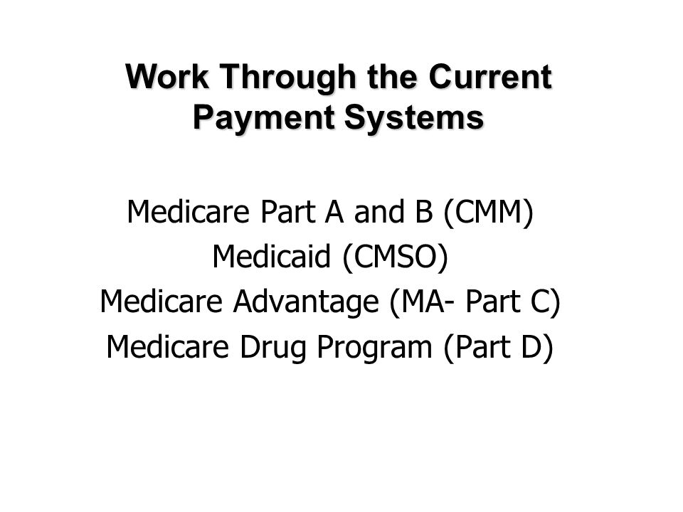 Medicare Part A and B (CMM) Medicaid (CMSO) Medicare Advantage (MA- Part C) Medicare Drug Program (Part D) Work Through the Current Payment Systems