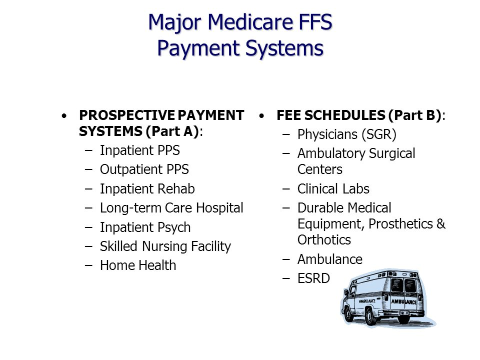Major Medicare FFS Payment Systems PROSPECTIVE PAYMENT SYSTEMS (Part A): –Inpatient PPS –Outpatient PPS –Inpatient Rehab –Long-term Care Hospital –Inpatient Psych –Skilled Nursing Facility –Home Health FEE SCHEDULES (Part B): –Physicians (SGR) –Ambulatory Surgical Centers –Clinical Labs –Durable Medical Equipment, Prosthetics & Orthotics –Ambulance –ESRD