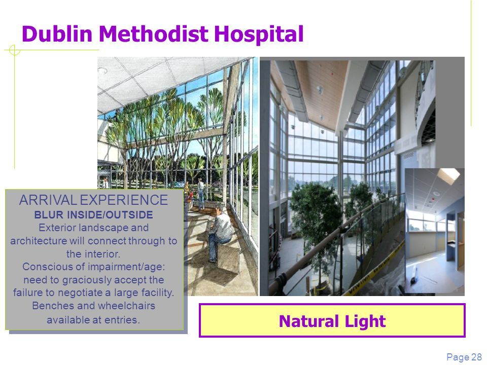 Page 28 Dublin Methodist Hospital Natural Light ARRIVAL EXPERIENCE BLUR INSIDE/OUTSIDE Exterior landscape and architecture will connect through to the interior.