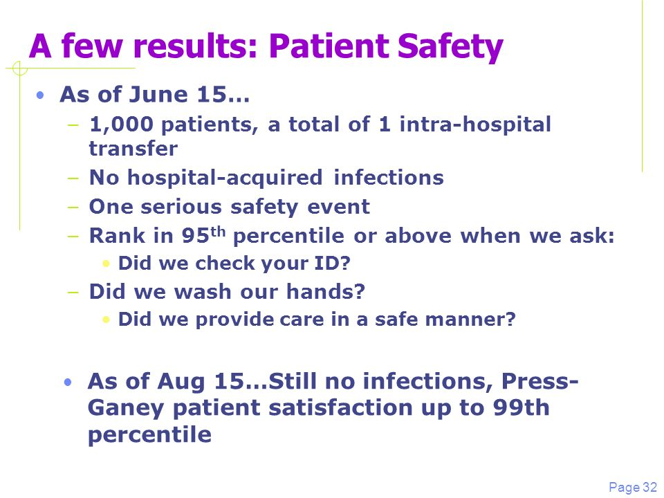 Page 32 A few results: Patient Safety As of June 15… – 1,000 patients, a total of 1 intra-hospital transfer – No hospital-acquired infections – One serious safety event – Rank in 95 th percentile or above when we ask: Did we check your ID.