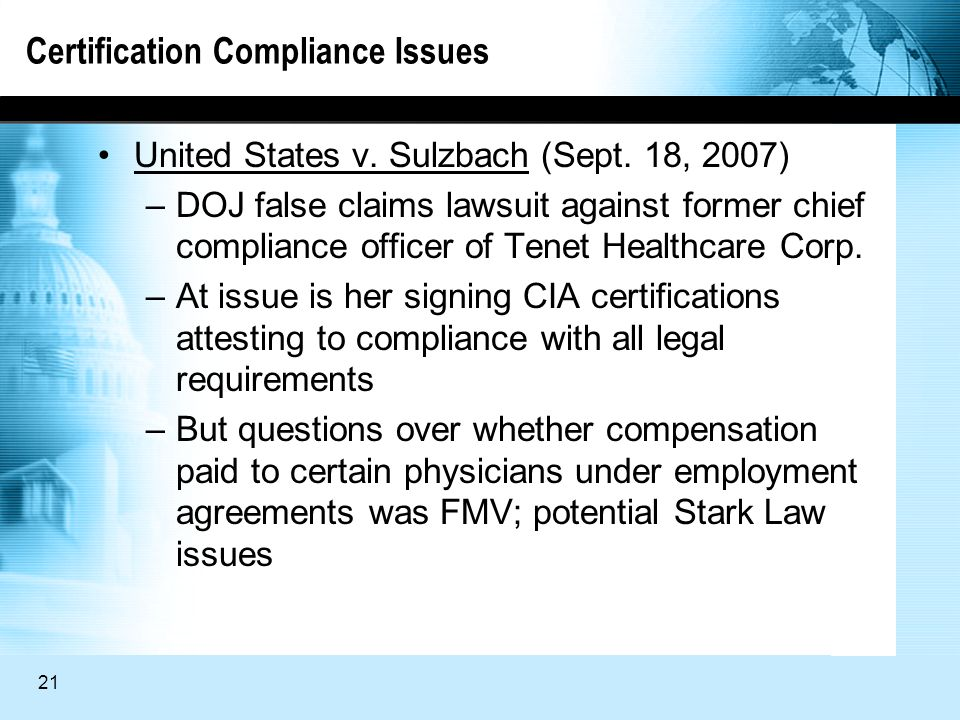 21 Certification Compliance Issues United States v.
