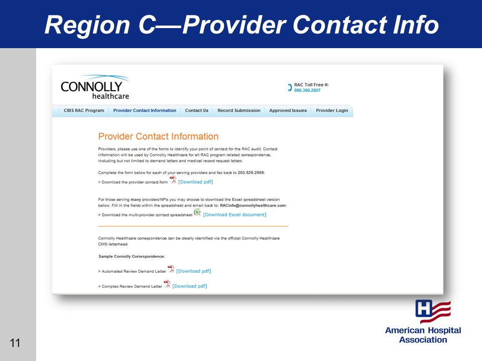 11 Region CProvider Contact Info