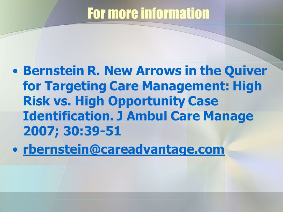 For more information Bernstein R.