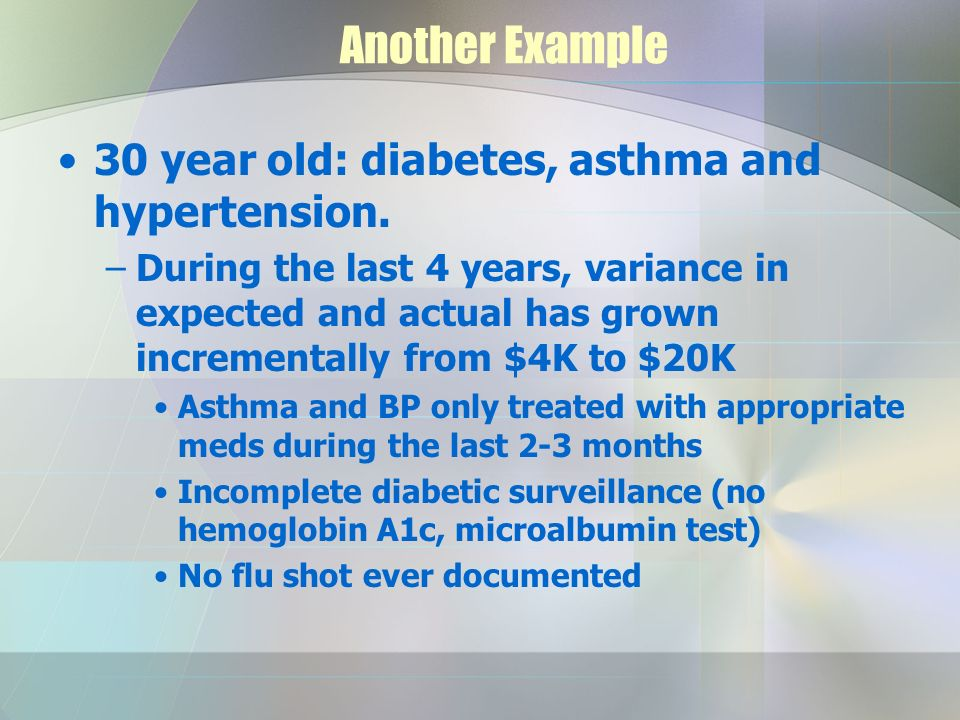 Another Example 30 year old: diabetes, asthma and hypertension.