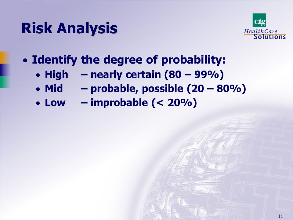 11 Risk Analysis Identify the degree of probability: High– nearly certain (80 – 99%) Mid – probable, possible (20 – 80%) Low – improbable (< 20%)
