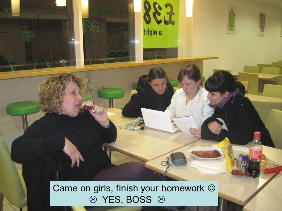 Came on girls, finish your homework YES, BOSS